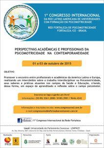 CONVITE: 1º Congresso Internacional da Red Latino Americana de Universidades com Formação em Psicomotricidade