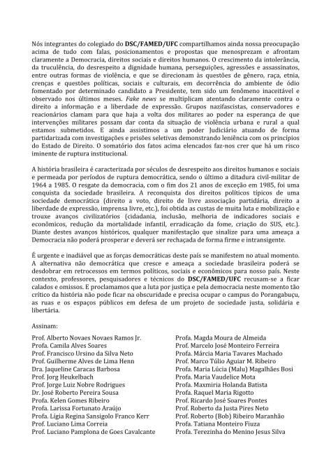 Manifesto Departamento Saude Comunitaria DSC_FAMED_UFC-2